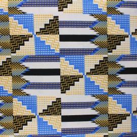 Tissu Wax à paillettes Sampa - bleu x 10cm