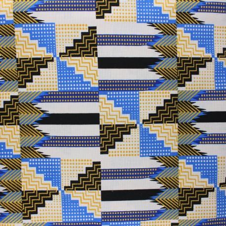 Glittery Wax print fabric - blue Sampa x 10cm
