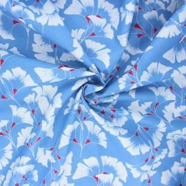 Tissu coton Frou-Frou Ginkgo - bleu houle x 10cm