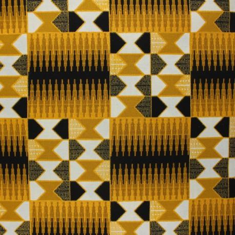 Glittery Wax print fabric - black Konongo x 10cm