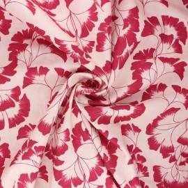 Tissu coton Frou-Frou Ginkgo - rose clair x 10cm