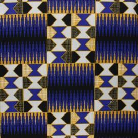 Glittery Wax print fabric - blue Konongo x 10cm