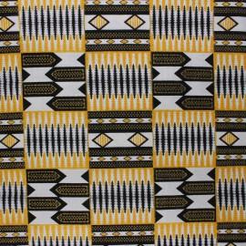 Glittery Wax print fabric - black Kumasi x 10cm