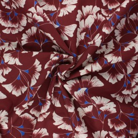 Frou-Frou cotton fabric - mahogany Ginkgo x 10cm