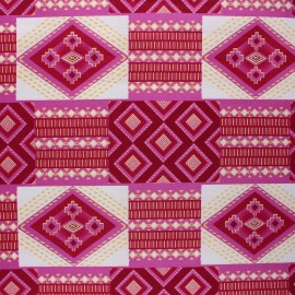 Glittery Wax print fabric - pink Berekum x 10cm