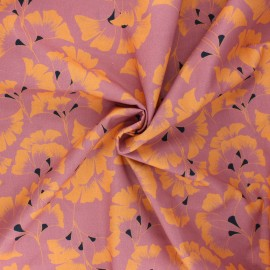 Frou-Frou cotton fabric - rosewood Ginkgo x 10cm