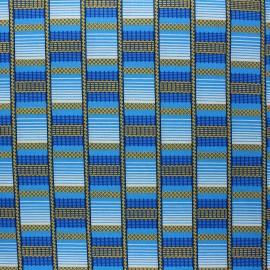 Tissu Wax à paillettes Digya - bleu x 10cm