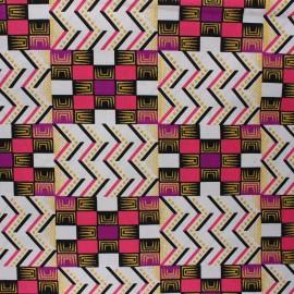 Tissu Wax à paillettes Kofo - rose x 10cm