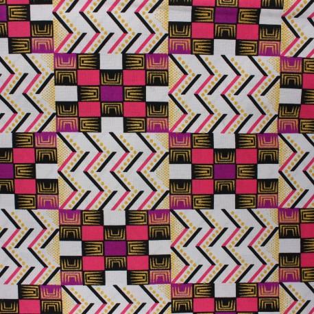 Glittery Wax print fabric - pink Kofo x 10cm