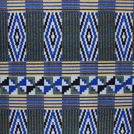 Tissu Wax à paillettes Sandema - bleu x 10cm
