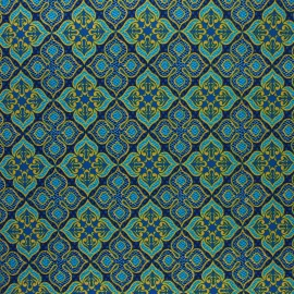 Glittery Wax print fabric - blue Bawku x 10cm