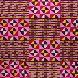 Glittery Wax print fabric - pink Sawla x 10cm