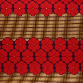 Glittery Wax print fabric - red Kara x 10cm