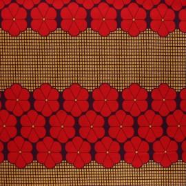 Tissu Wax à paillettes Kara - rouge x 10cm