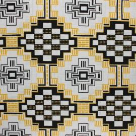 Glittery Wax print fabric - black Yeji x 10cm