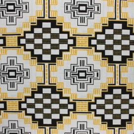Tissu Wax à paillettes Yeji - noir x 10cm