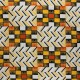 Glittery Wax print fabric - orange Kofo x 10cm