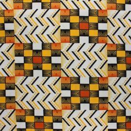 Tissu Wax à paillettes Kofo - orange x 10cm