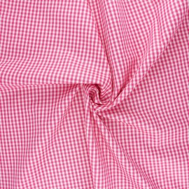 Cotton poplin checked gingham fabric - fuchsia Suzy x 10cm