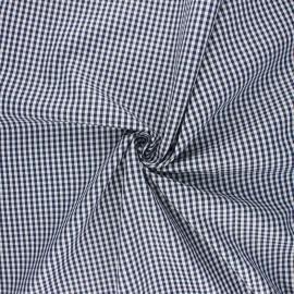 Cotton poplin checked gingham fabric - navy blue Suzy x 10cm