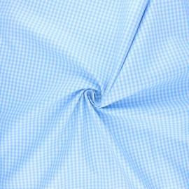 Cotton poplin checked gingham fabric - sky blue Suzy x 10cm