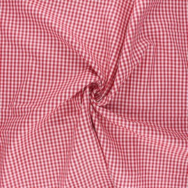 Cotton poplin checked gingham fabric - red Suzy x 10cm