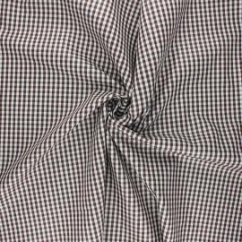 Cotton poplin checked gingham fabric - chocolate Suzy x 10cm