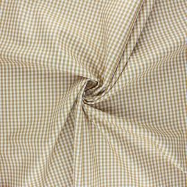 Tissu popeline de coton vichy Suzy - jaune moutarde x 10cm