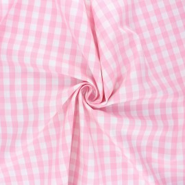 Cotton poplin checked gingham fabric - pink July x 10cm