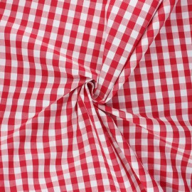 Cotton poplin checked gingham fabric - red July x 10cm
