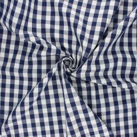 Cotton poplin checked gingham fabric - navy blue July x 10cm