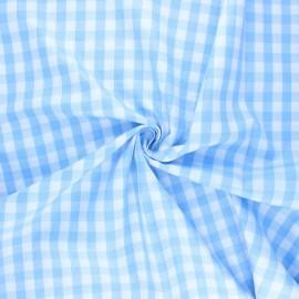 Cotton poplin checked gingham fabric - sky blue July x 10cm