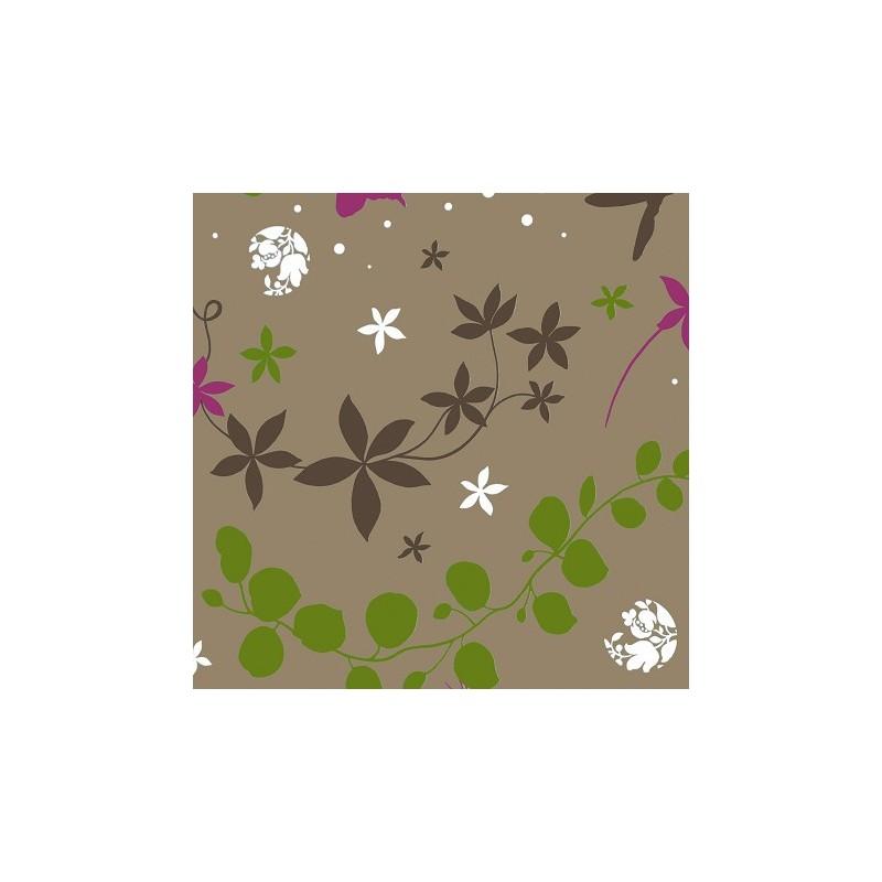 tissus pas cher tissu coton volubilis vert prune. Black Bedroom Furniture Sets. Home Design Ideas