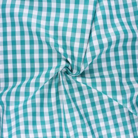 Cotton poplin checked gingham fabric - emerald July x 10cm