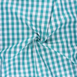 Tissu popeline de coton vichy July - émeraude x 10cm