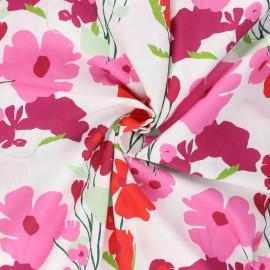 Tissu coton Frou-Frou Coquelicot - blanc x 10cm