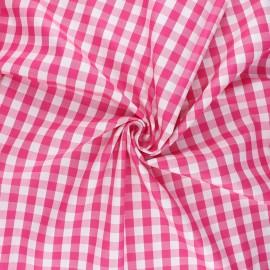 Cotton poplin checked gingham fabric - fuchsia July x 10cm