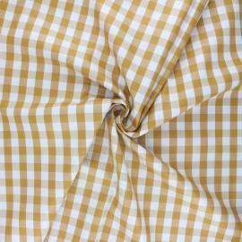 Cotton poplin checked gingham fabric - mustard yellow July x 10cm