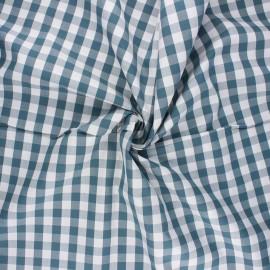 Cotton poplin checked gingham fabric - grey green July x 10cm