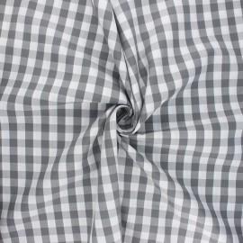 Cotton poplin checked gingham fabric - grey July x 10cm