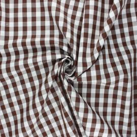 Cotton poplin checked gingham fabric - chocolate July x 10cm