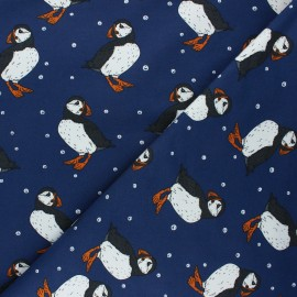 Bloome Copenhagen cotton terrycloth fabric - navy blue Puffins x 10 cm