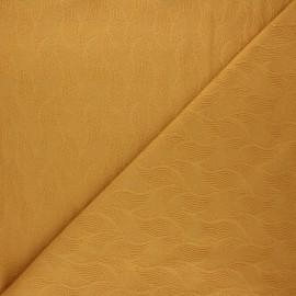 Tissu Mind the Maker jersey jacquard Leaf - jaune moutarde x 10 cm