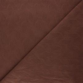 Tissu Mind the Maker jersey jacquard Leaf - chocolat x 10 cm