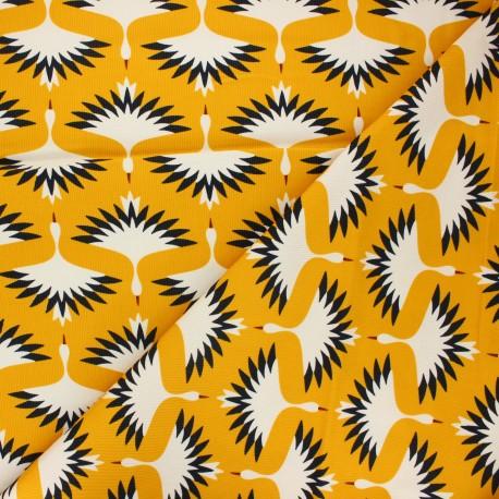 Cloud9 Milleraies velvet fabric A walk remembered - mustard yellow Swooping cranes x 10cm