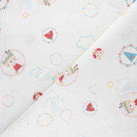 Baby cot retonne cotton fabric - red Tipi x 10 cm
