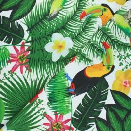 Outdoor canvas fabric - white Wild life x 10cm
