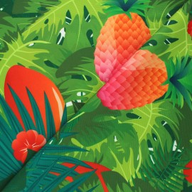 Outdoor canvas fabric - green Pineapple x 10cm