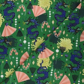 Tissu coton Cloud9 Dragons & lanterns - Fierce green x 10 cm