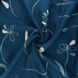 Tissu sergé de viscose Bloom - bleu pétrole x 10cm